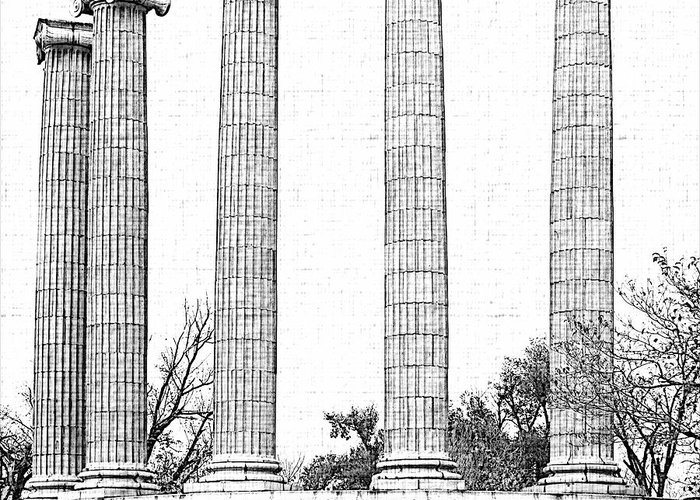 Architecture Greeting Card featuring the photograph Five Columns Sketchy by Debbie Portwood
