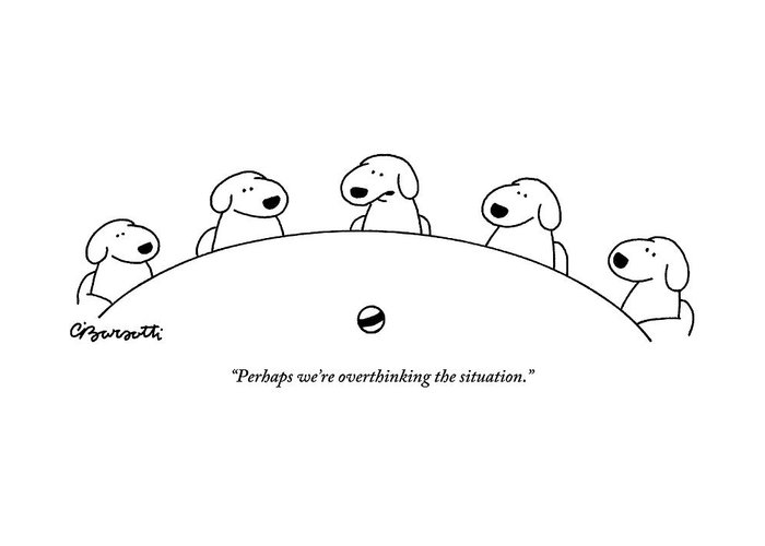 Dogs Greeting Card featuring the drawing Five Dogs Sitting Around A Roundtable by Charles Barsotti