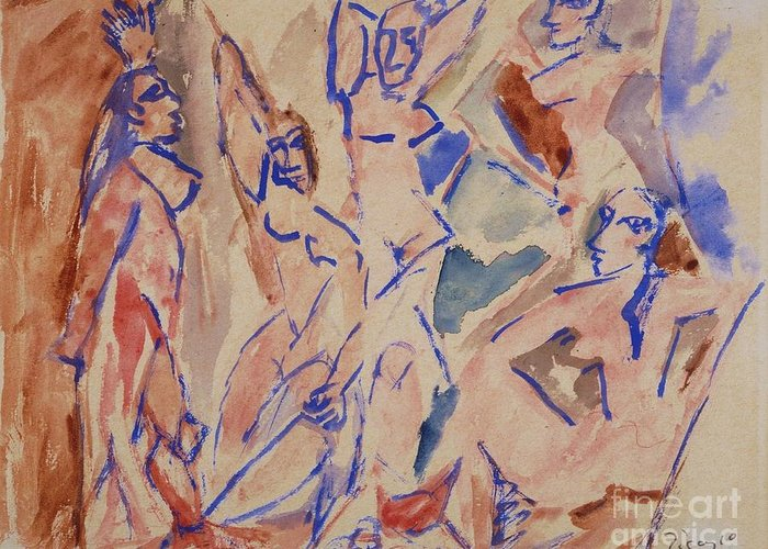 Pd Greeting Card featuring the painting Five Nudes Study by Pg Reproductions