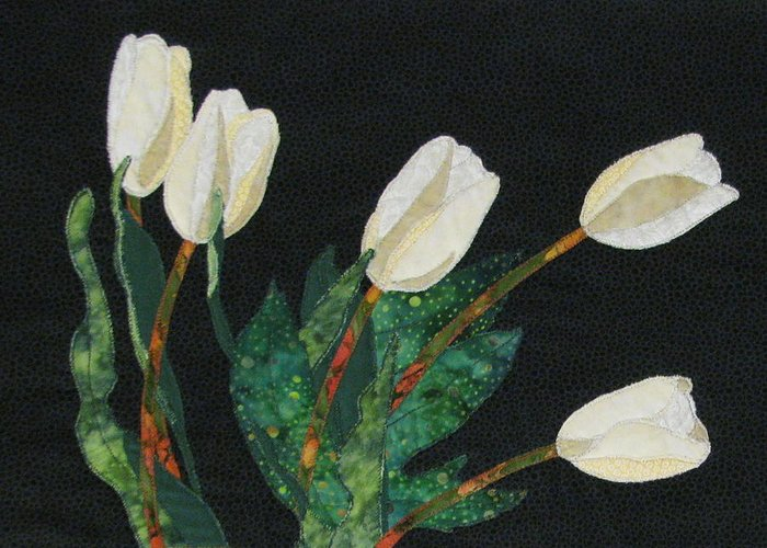 Art Quilts Tapestries - Textiles Greeting Card featuring the tapestry - textile Five White Tulips by Lynda K Boardman