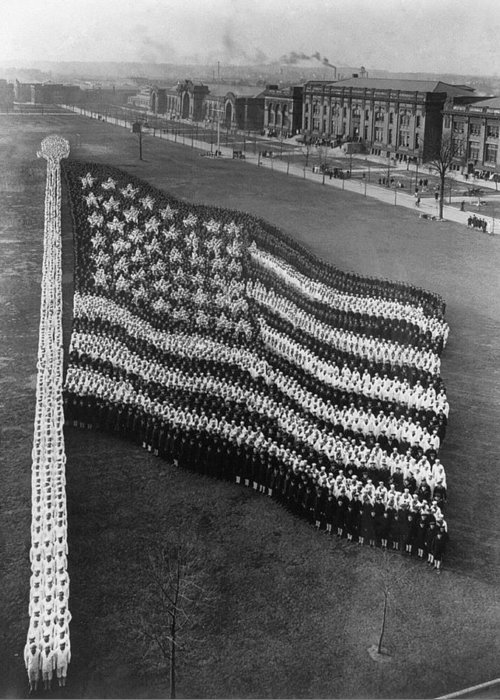 1917 Greeting Card featuring the photograph Flag Formation, C1917 by Granger