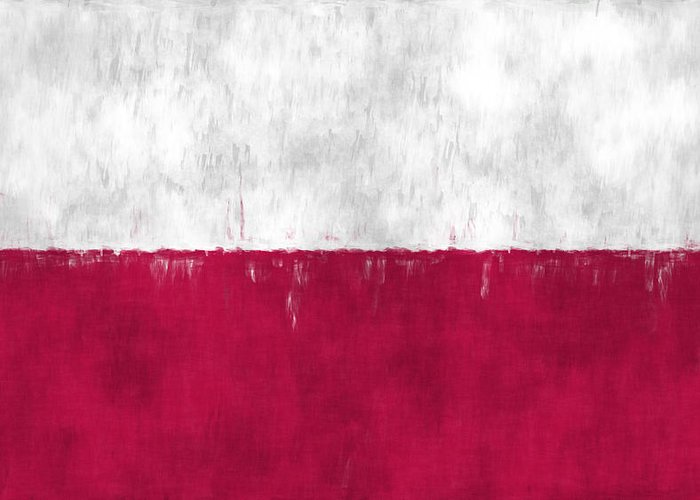Abstract Greeting Card featuring the digital art Flag Of Poland by World Art Prints And Designs
