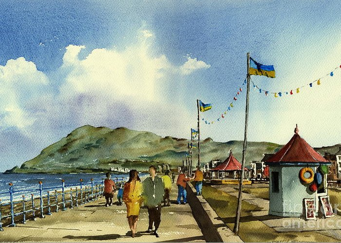 Valbyrne Greeting Card featuring the painting As I Walk Along The Promenade With An Independant Air ....... by Val Byrne