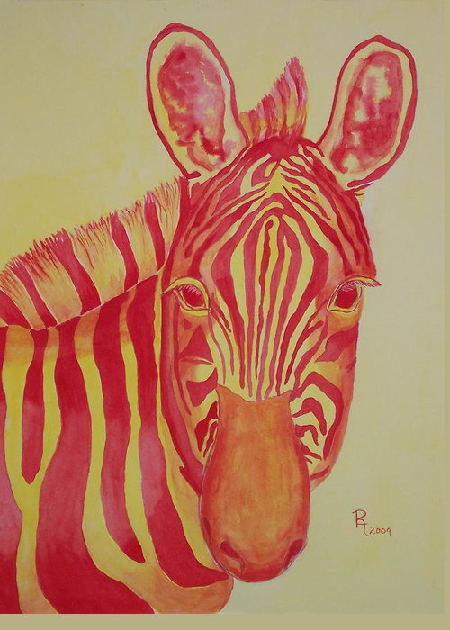 Zebra Greeting Card featuring the painting Flame by Rhonda Leonard
