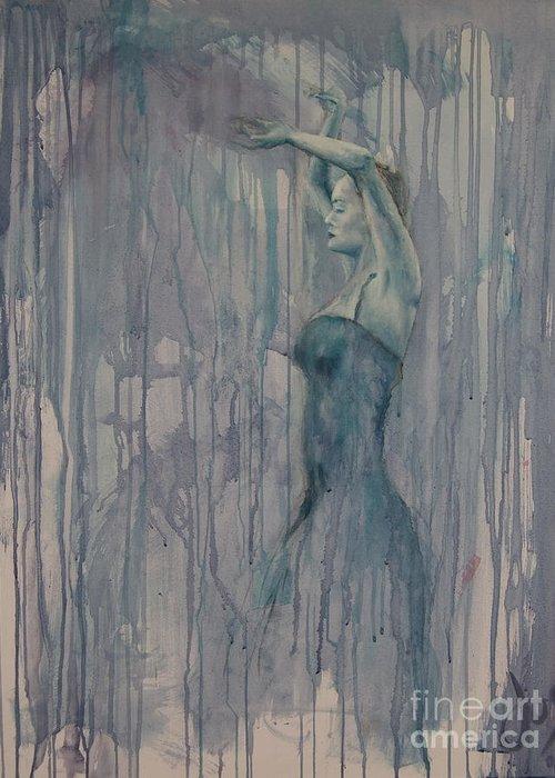 Dance Female Flamenco Sport Blue Purple Greeting Card featuring the painting Flamenco 3 by Jos Van de Venne