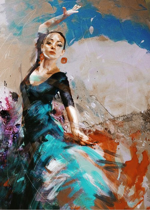 Jazz Greeting Card featuring the painting Flamenco 42 by Maryam Mughal