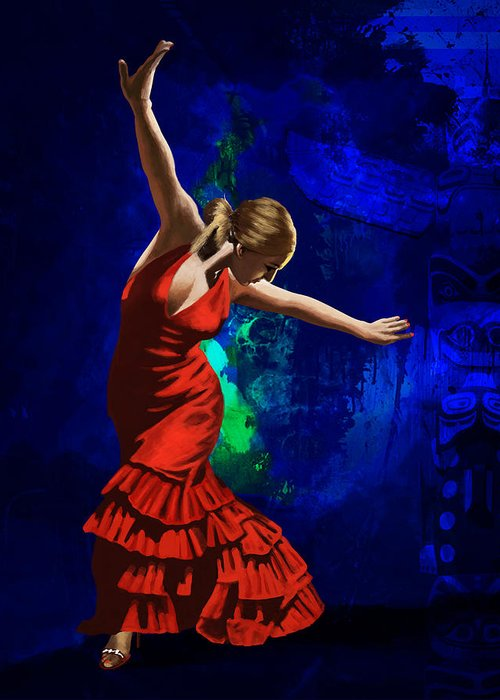 Jazz Greeting Card featuring the painting Flamenco Dancer 014 by Catf