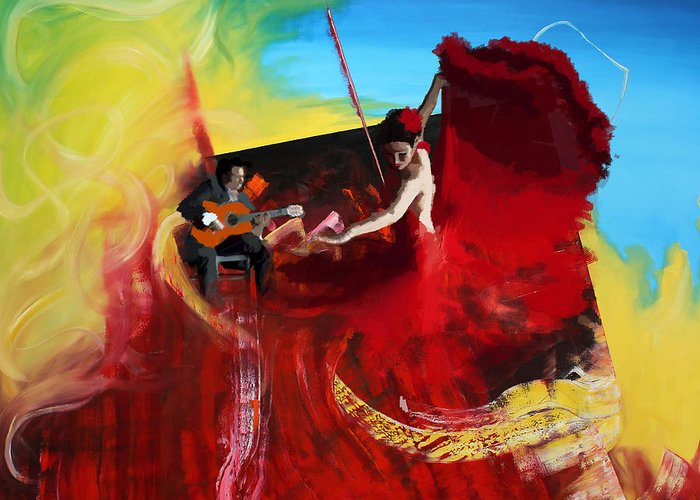 Jazz Greeting Card featuring the painting Flamenco Dancer 016 by Catf