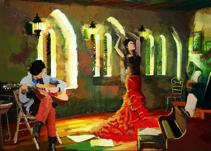 Jazz Greeting Card featuring the painting Flamenco Dancer 017 by Catf