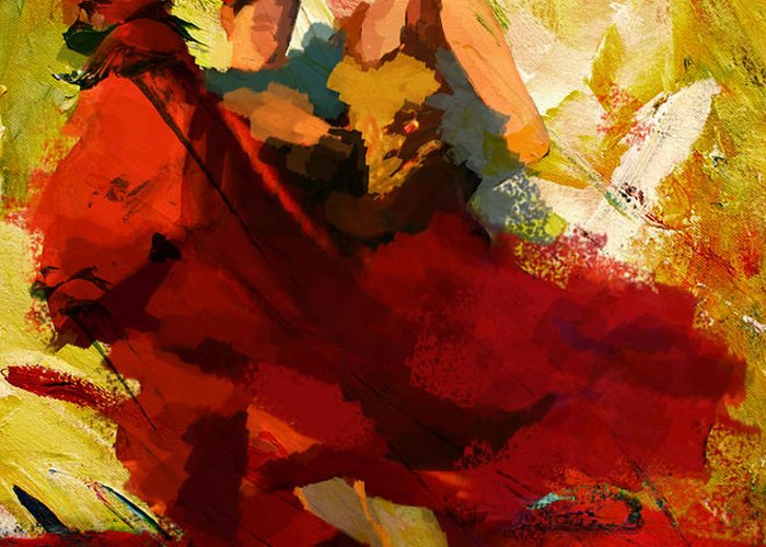 Jazz Greeting Card featuring the painting Flamenco Dancer 019 by Catf