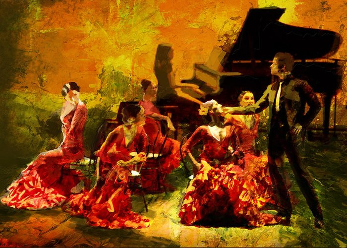 Jazz Greeting Card featuring the painting Flamenco Dancer 020 by Catf