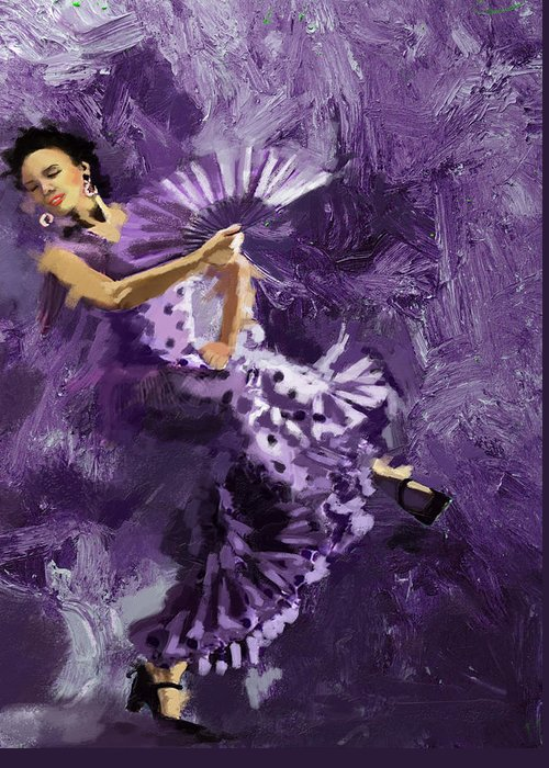 Jazz Greeting Card featuring the painting Flamenco Dancer 023 by Catf
