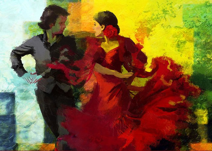 Jazz Greeting Card featuring the painting Flamenco Dancer 025 by Catf