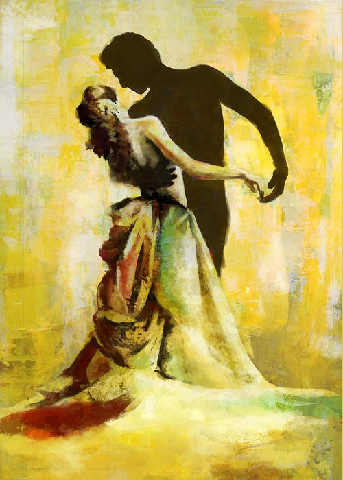 Jazz Greeting Card featuring the painting Flamenco Dancer 031 by Catf