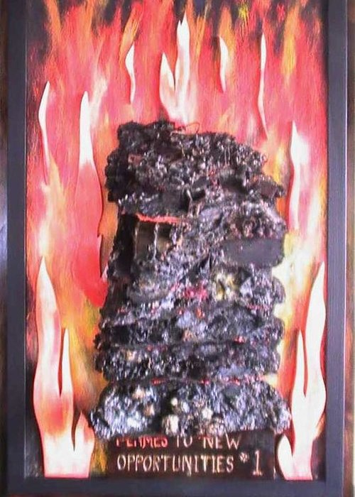Flames Greeting Card featuring the painting Flames to New Opportunities #1 by Tanna Lee M Wells