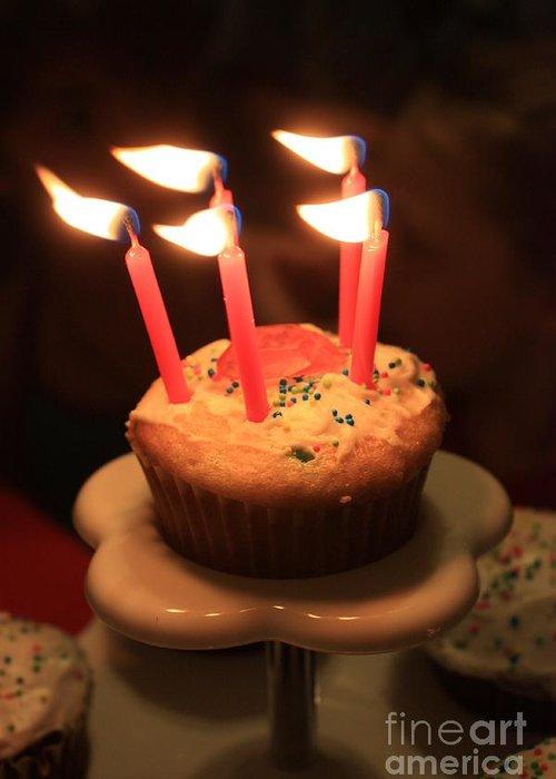 Cupcake Greeting Card featuring the photograph Flaming Birthday Cupcake Closeup by Robert D Brozek