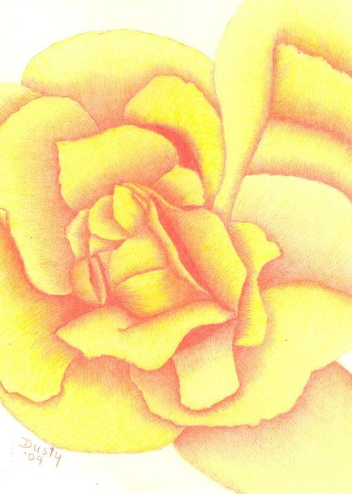 Rose Greeting Card featuring the drawing Flaming Yellow Rose by Dusty Reed