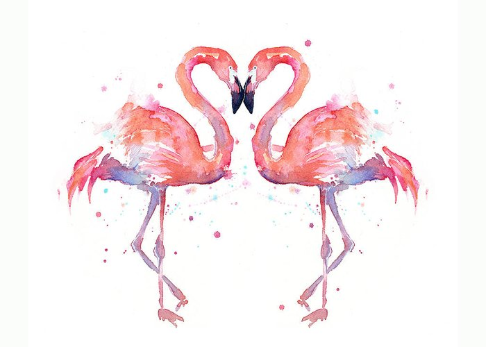 Watercolor Greeting Card featuring the painting Flamingo Love Watercolor by Olga Shvartsur