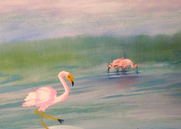 Painting Of Pick Flamingo Greeting Card featuring the painting Flamingos Frolicking by Linda Bright Toth