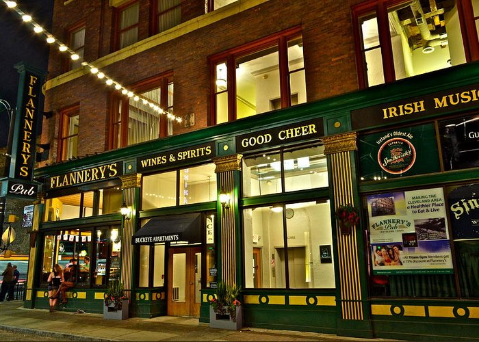 Spirits Greeting Card featuring the photograph Flannerys Pub by Frozen in Time Fine Art Photography