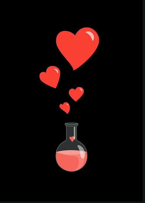 Geek Valentine Greeting Card featuring the digital art Flask Of Hearts by Boriana Giormova