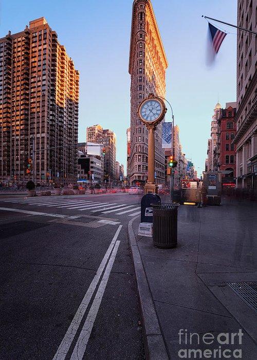 5th Avenue Clock Greeting Card featuring the photograph Flatiron Area In Motion by John Farnan