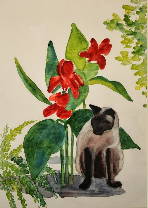 Greeting Card featuring the painting Flealing by Helen Hickey