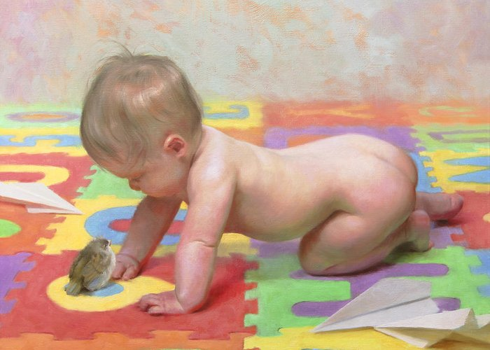 Babies Paintings Greeting Cards