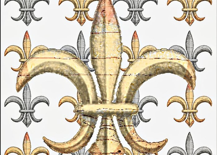 Fleur De Lys Greeting Card featuring the photograph Fleur De Lys Silver And Gold by Barbara Chichester