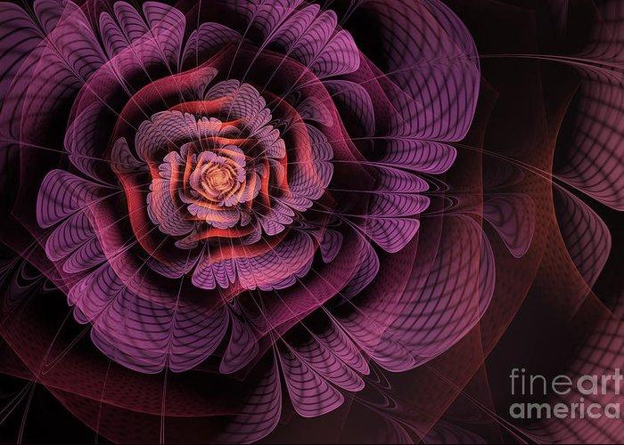 Purple Fractal Flower Greeting Card featuring the digital art Fleur Pourpre by John Edwards