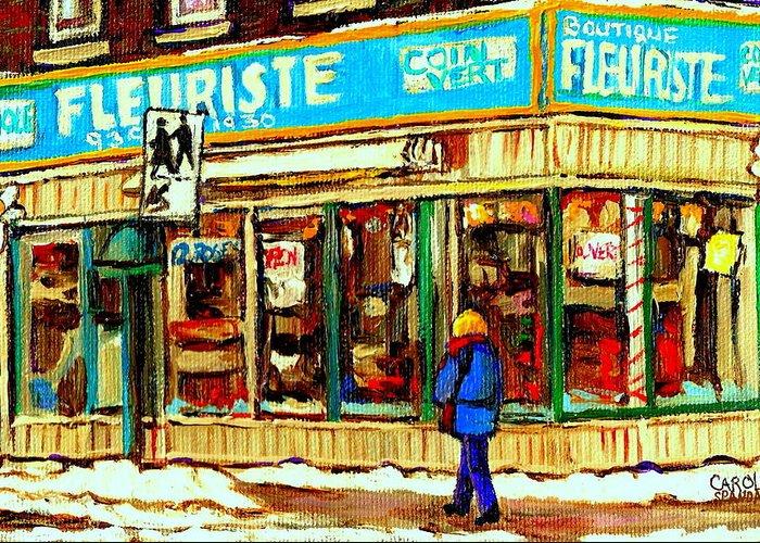 Boutique Fleurist Coin Vert Greeting Card featuring the painting Fleuriste Notre Dame Flower Shop Paintings Carole Spandau Winter Scenes by Carole Spandau