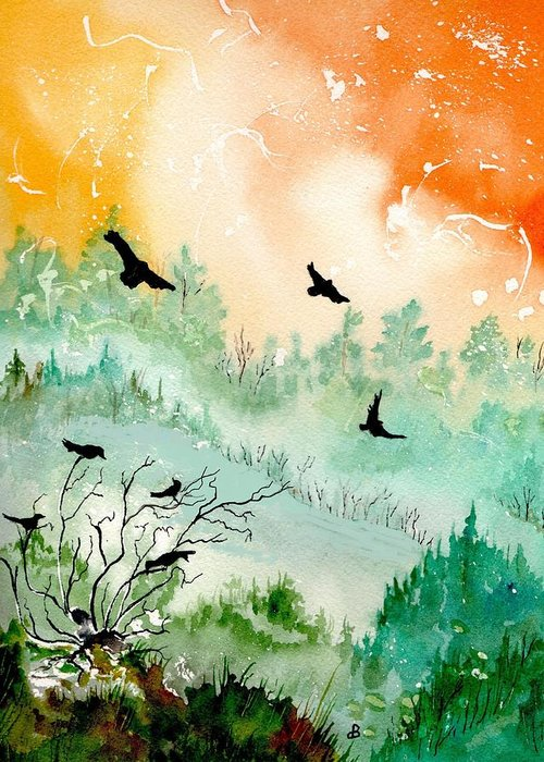 Watercolor Greeting Card featuring the painting Flight by Brenda Owen