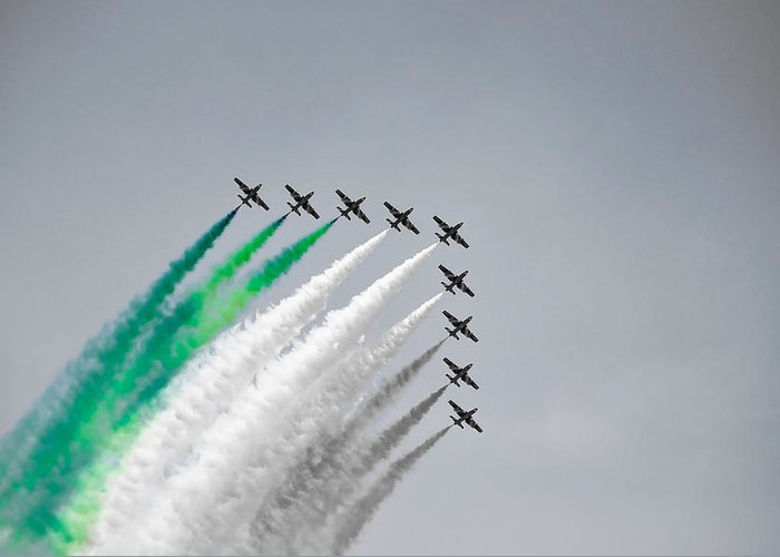 Flight Formation Plane Smoke Sky Selective Color Nine Gabi Revenbel Greeting Card featuring the photograph Flight Formation by Gabi Revenbel