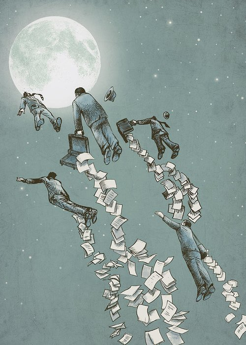 Moon Greeting Card featuring the drawing Flight Of The Salary Men by Eric Fan