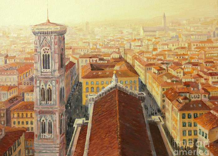 Aerial Greeting Card featuring the painting Flight Over Florence by Kiril Stanchev