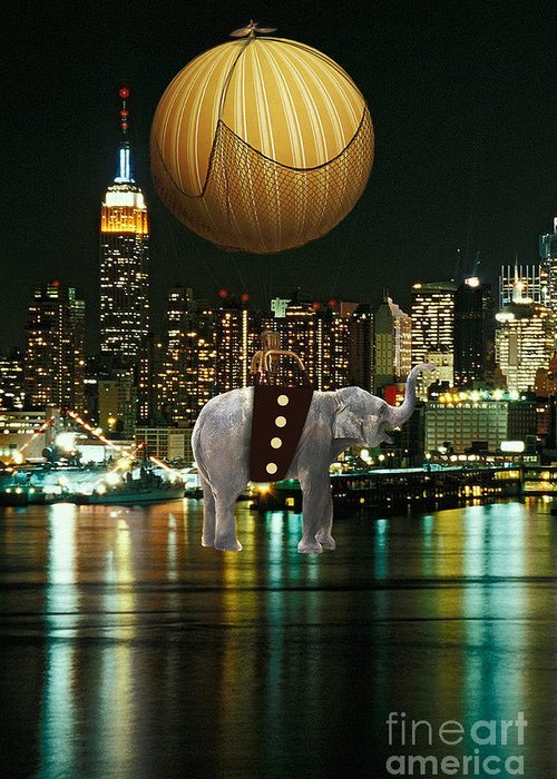Elephant Art Greeting Card featuring the mixed media Flight Over The New York Skyline On A Hot Air Balloon by Marvin Blaine