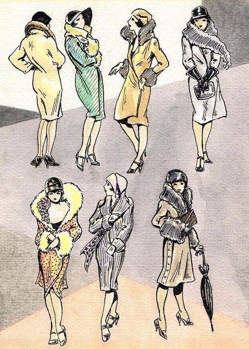 Nostalgia Greeting Card featuring the drawing Flirty Flappers by Mel Thompson