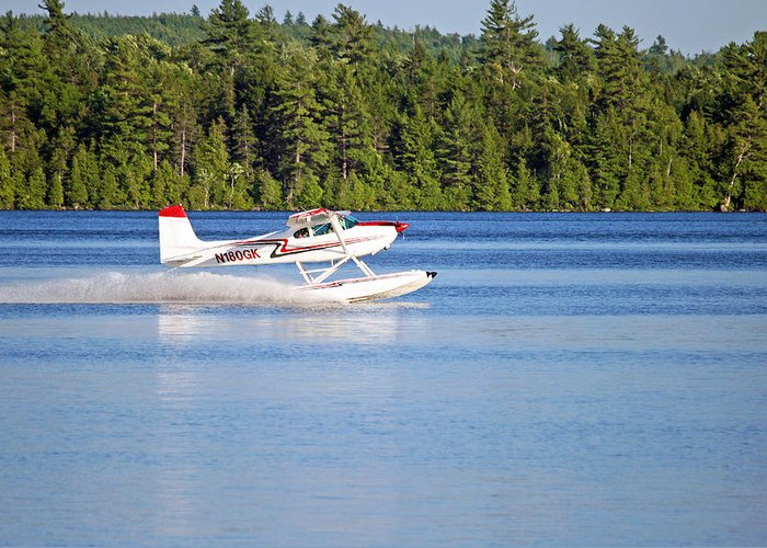 Float Plane Greeting Card featuring the photograph Float Plane Landing On The Lake by Barbara West