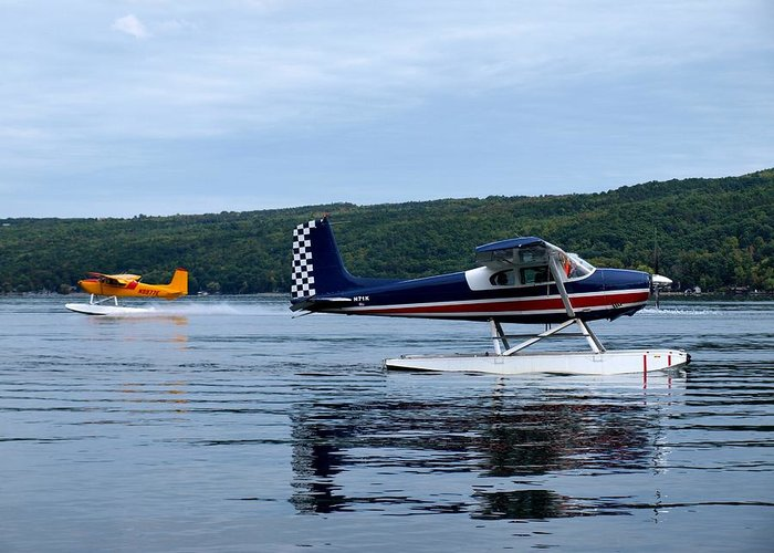 Cessna 180e Greeting Card featuring the photograph Float Planes On Keuka by Joshua House