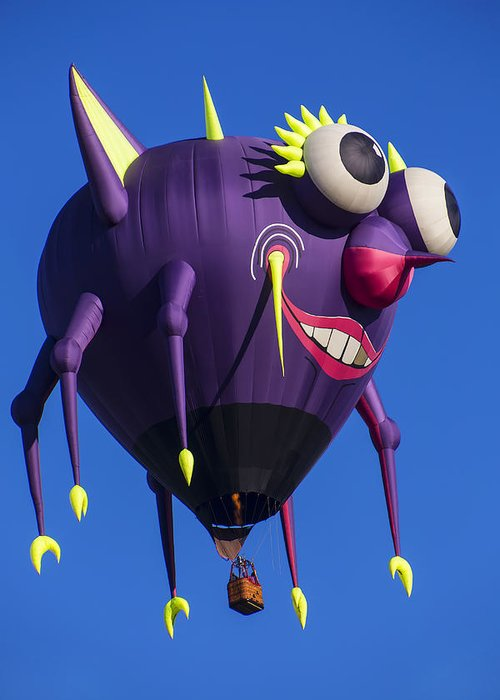 Purple People Eater Hot Air Balloon Greeting Card featuring the photograph Floating Purple People Eater by Garry Gay