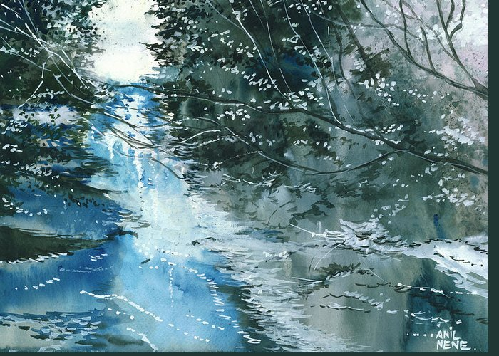 Nature Greeting Card featuring the painting Floods 3 by Anil Nene