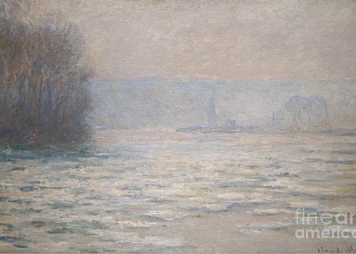 French Greeting Card featuring the painting Floods On The Seine Near Bennecourt by Claude Monet