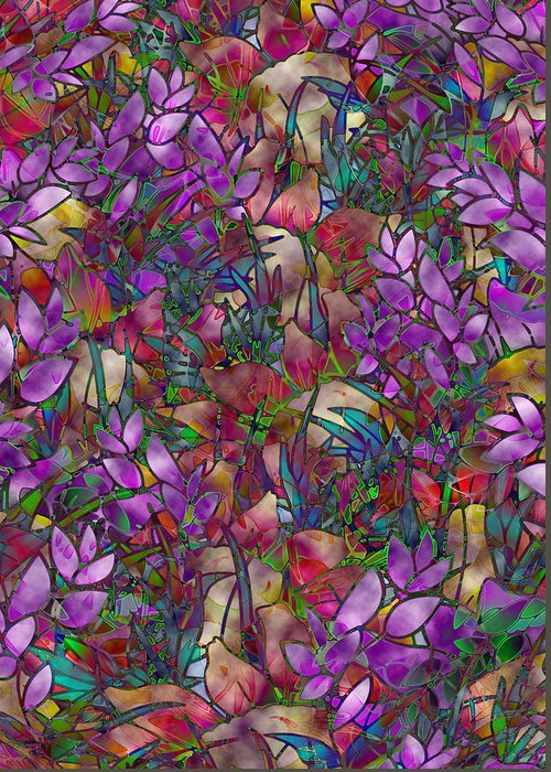 Art Greeting Card featuring the glass art Floral Abstract Stained Glass by Medusa GraphicArt