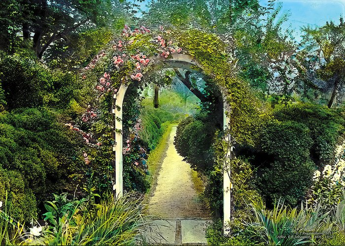Tranquil Greeting Card featuring the painting Floral Arch And Path by Terry Reynoldson