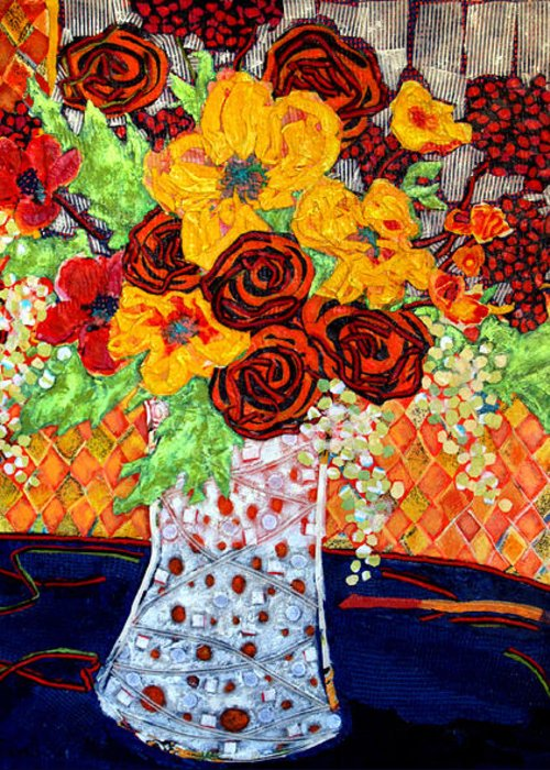 Flowers In A Vase Greeting Card featuring the mixed media Floral Arrangement by Diane Fine