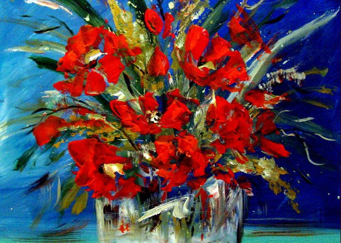Floral Greeting Card featuring the painting Floral by Cynthia Hudson
