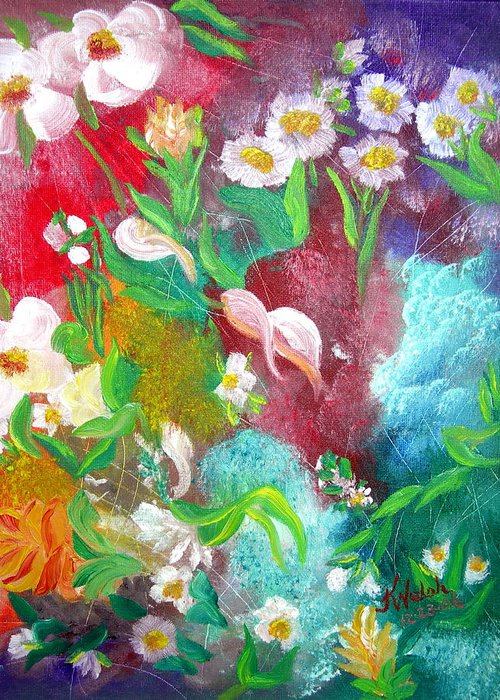 Abstract Greeting Card featuring the painting Floral Fantasy by Kathern Welsh