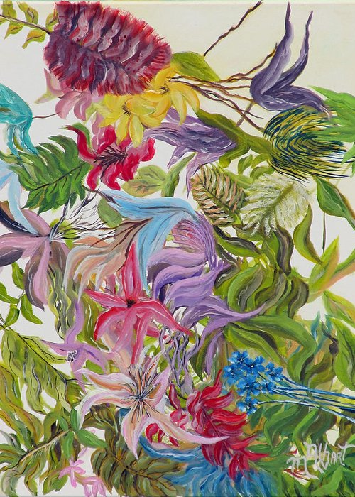 Floral Greeting Card featuring the painting Floral Frenzy by Mikki Alhart