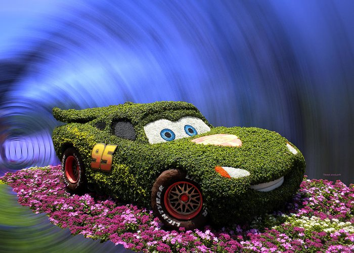 Cars 2 Greeting Card featuring the photograph Floral Lightning Mcqueen by Thomas Woolworth