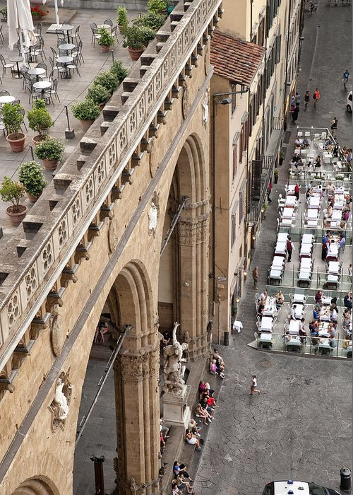 Architecture Art Greeting Card featuring the photograph Florence And Piazza Della Signoria by Melany Sarafis